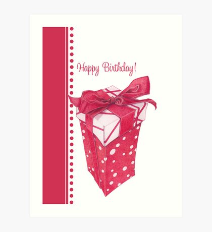 Red Gift Box Happy Birthday Art Print
