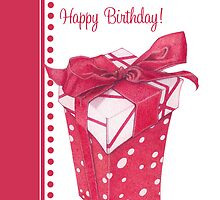 Red Gift Box Happy Birthday by Mariana Musa
