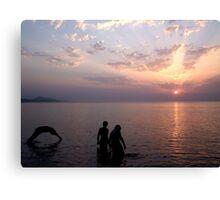 Sunset Swim. Canvas Print