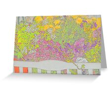 Flower Bench Lithograph Greeting Card