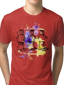 Three Cats - Holding Spoons and Cups Tri-blend T-Shirt