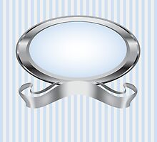 Blue and Gray Pearl Frame with Silver Ribbon by Stacey Lynn Payne