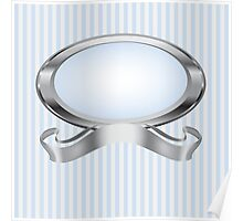 Blue and Gray Pearl Frame with Silver Ribbon Poster