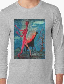 The Burning Giraffe Interpretation, Surreal Art, Painting, Red, Giraffe, Painting, Salvador Dali Inspired, Mountains, Nature, IrotTori Art Long Sleeve T-Shirt