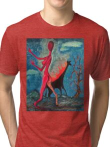 The Burning Giraffe Interpretation Tri-blend T-Shirt