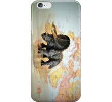 Triceratops On World Map iPhone Case/Skin