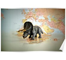 Triceratops On World Map Poster