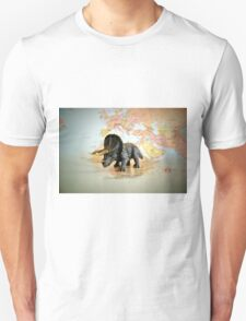 Triceratops On World Map T-Shirt