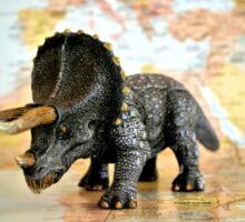 Triceratops On World Map Sticker