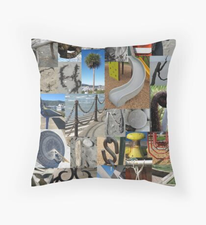 Alphabet collage at the beach in New Zealand Throw Pillow