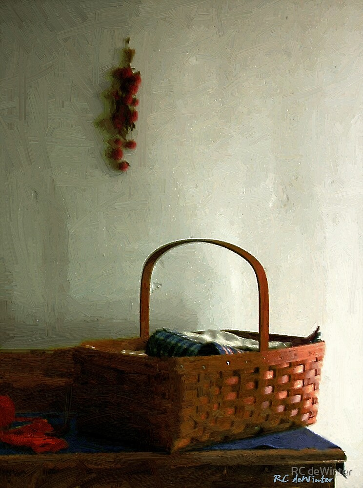 Sewing Basket in Sunlight by RC deWinter