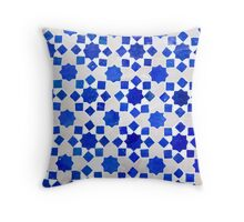 Traditional blue geometric tile Throw Pillow