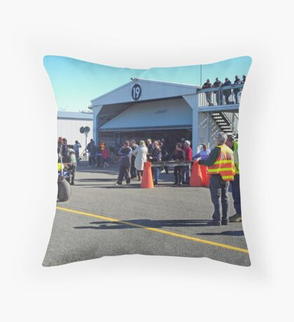 Spectators at Hangar 19 Throw Pillow