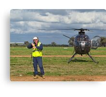 Ground Controller & Hughes 500 Helicopter Canvas Print