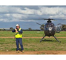 Ground Controller & Hughes 500 Helicopter Photographic Print