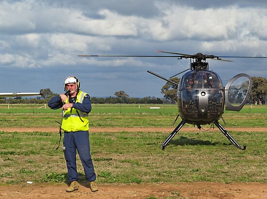 Ground Controller & Hughes 500 Helicopter by David Hunt