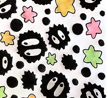 Cute Soot Sprite and Candy Stars Pattern  by PlatypusDoodles