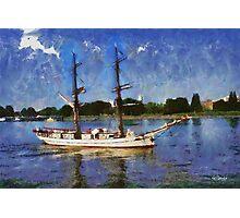 Sailboat on Scheldt - Antwerp - Belgium Photographic Print