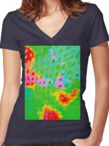 Colorful Abstract Watercolor Painting Background Women's Fitted V-Neck T-Shirt