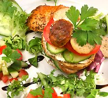Salad and Bavarian Chicken Burger  by SmoothBreeze7