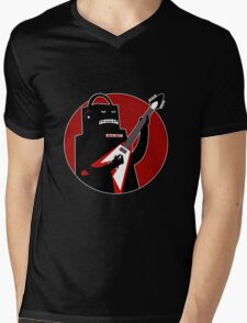 Badbot in Black and Red Mens V-Neck T-Shirt