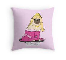 Sleeping Pugly Make it Pink! Throw Pillow