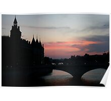 Sunset on the Seine Poster