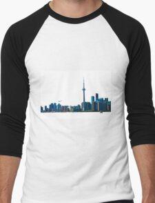Toronto Skyline Graphic with Rogers Centre Men's Baseball ¾ T-Shirt