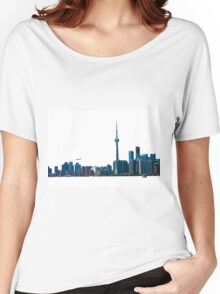 Toronto Skyline Graphic with Rogers Centre Women's Relaxed Fit T-Shirt
