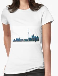 Toronto Skyline Graphic with Rogers Centre Womens Fitted T-Shirt