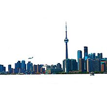 Toronto Skyline Graphic with Rogers Centre Photographic Print