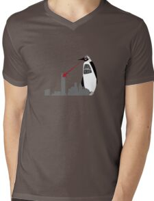 Robopenguin on the Rampage Mens V-Neck T-Shirt