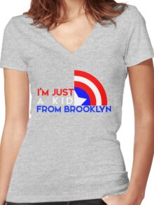 Just a Kid From Brooklyn Women's Fitted V-Neck T-Shirt