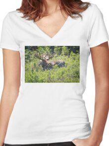 Smiling Bull Moose Women's Fitted V-Neck T-Shirt