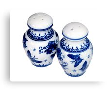 Blue and White Salt & Pepper Shakers Canvas Print