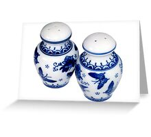 Blue and White Salt & Pepper Shakers Greeting Card