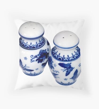 Blue and White Salt & Pepper Shakers Throw Pillow