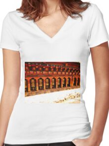 Prayer Wheels Women's Fitted V-Neck T-Shirt
