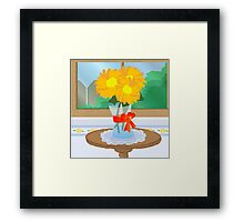 Flowers by a Window Framed Print