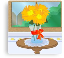 Flowers by a Window Canvas Print