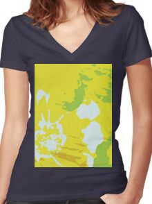 Fresh Yellow Abstract Background Women's Fitted V-Neck T-Shirt