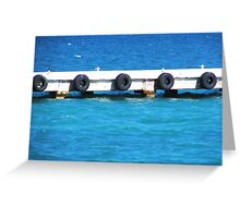 """Ferry Pier Bumpers (Old tires on vacation)"" Greeting Card"