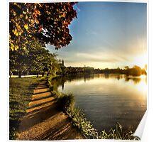 Silent lake walkway at sunset South Germany Poster