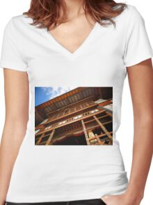 Temple Roof Women's Fitted V-Neck T-Shirt