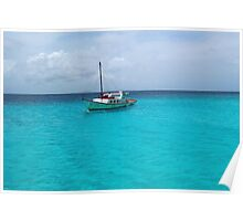 Sailing Serenity in the Azure Waters of the Caribbean Poster