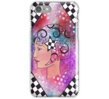Whimiscal Girl with Checkerboard Border iPhone Case/Skin