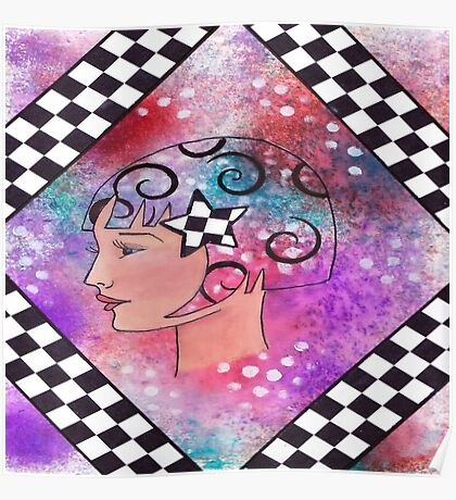 Whimiscal Girl with Checkerboard Border Poster
