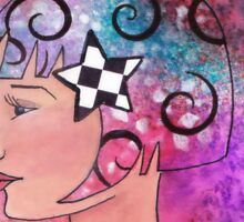 Whimiscal Girl with Checkerboard Border Sticker