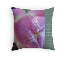 Pink Tulip Bud with Anais Nin Quote Throw Pillow