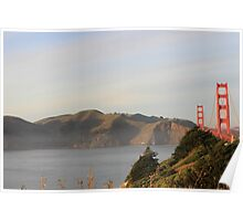 Golden Gate Bridge on a Foggy Day with mountains in the background Poster